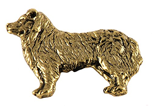 Creative Pewter Designs, Full Body Border Collie Handcrafted Dog Lapel Pin Brooch, 24k Gold Plated, DG330 - Border Collie Pin