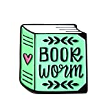 Bookworm Enamel Pin Book Lover Hard Enamel Pin for Her Reading and Librarian Gift.