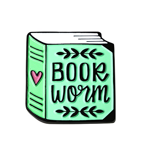 Enamel Pin Badge - Bookworm Enamel Pin Book Lover Hard Enamel Pin for Her Reading and Librarian Gift.