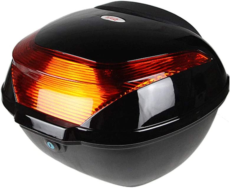 Scooter de la Caja Superior con luz de Advertencia Nocturna ZMCOV Baul Moto Universal Caja Trasera Resistente y Duradera