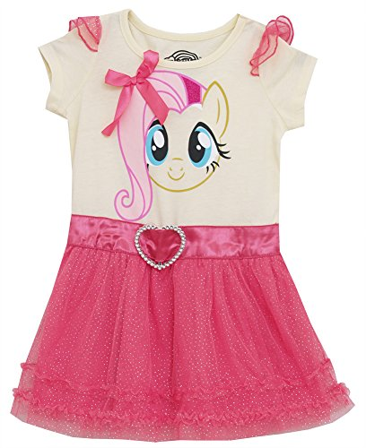 (LJST55R) My Little Pony Little Girls Costume Tunic with Glitter Ruffle Skirt (2T-6X) in Yellow Size: 2T