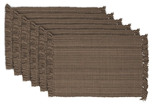 DII Tonal Fringe Placemat, Set of 6, Variegated Brown - Perfect for Fall, Thanksgiving, Dinner Parties and (Thanksgiving Placemat)