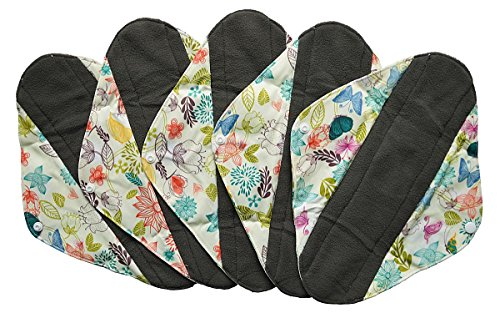 5 Pieces Charcoal Bamboo Mama Cloth/ Menstrual Pads/ Reusable Sanitary Pads (Heavy (12 inch), Bloom)