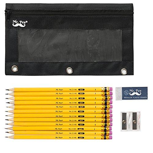 Mr. Pen- Complete Pencil Pack with Pencil Pouch, Pencil and Sharpener, 12 Pencils, 1 Eraser, 1 Pencil Sharpener, 1 Mechanical Pencil (0.7), 12 Eraser Caps, HB Pencils, Pencil Case, Binder Case -