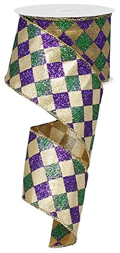 Mardi Gras Harlequin Glitter Diamond Ribbon: Purple, Green & Gold 2.5