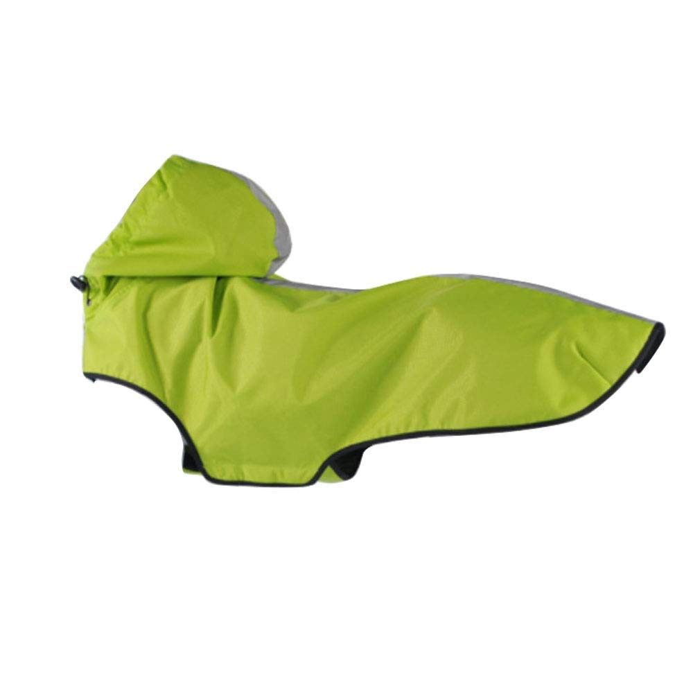 GCSEY Dog Jacket Waterproof Light Weight Rain Coat for Large Medium Small Dogs with Hood and Reflective Strips,Green,XL