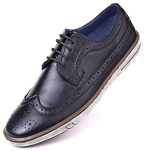 Mio Marino Mens Dress Shoes - Fashion Casual Oxford Shoes for Men - Round Toe Dress Claviko - Black - 11 D(M) US