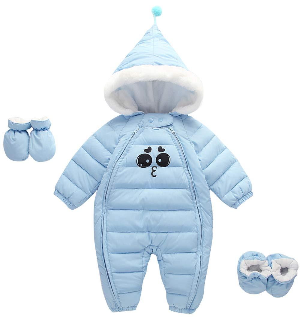 Unisex Baby Hooded Winter Puffer Snowsuit Warm Zip Up Long Sleeve 3 Pcs Coat with Double Head Zipper Blue 0-6 Months by Ohrwurm