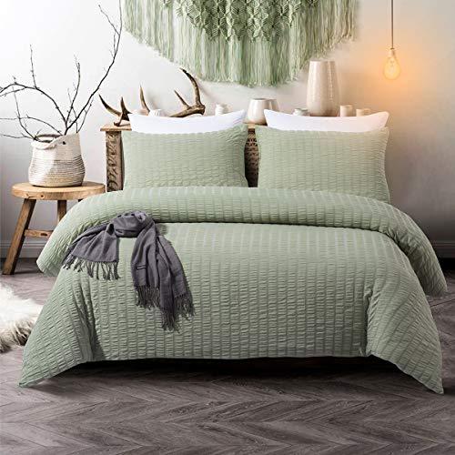 TanNicoor Seersucker Duvet Cover Set Green,Luxury Washed Cotton Comforter Quilt Bedding Covers with Zipper and Corner Ties - Ultra-Soft & Hypoallergenic(3 Piece Queen)