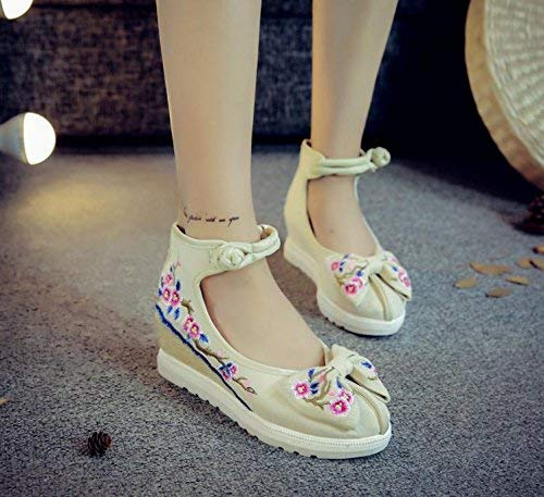 Blancos Suela Metros De Bordados Zapatos Femeninos Lino Eeayyygch Cómodos Tamaño Estilo 38 Étnico Informales Moda color Aumentados Tendón Uq6t1Wf