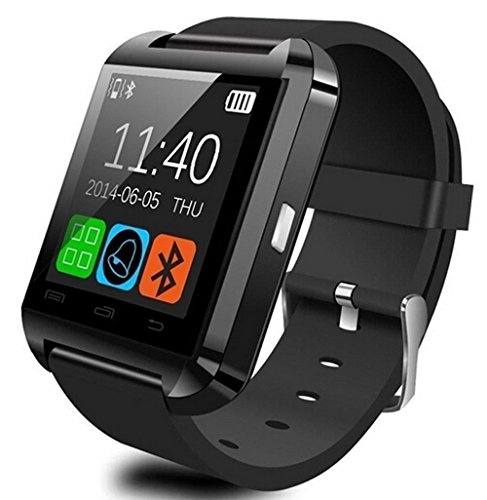 (NOKKOO Bluetooth Android Smart Mobile Phone U8 Wrist Watch Smart Phone Watch Smart Barcelet for Android Phone, Huawei, Google, Samsung (Black))