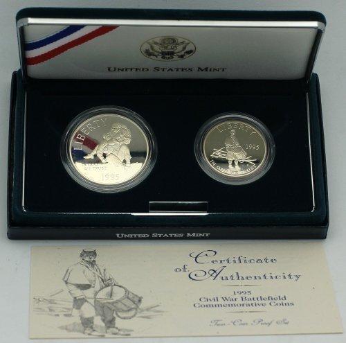 1995 Civil War Battlefield 2-Coin Commemorative Proof Set – Silver Dollar & Clad Half
