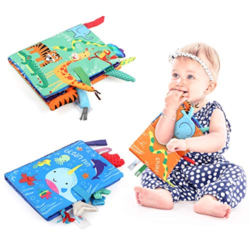 LEADSTAR Baby Cloth Books, 2 Pack Quiet Books Baby Toys Padded 3D Animals Tails Crinkle Sensory Touch Feel Book Bath Toy…