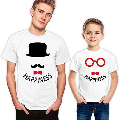 Hat and Glasses Happiness Father and Son Matching Family Shirt Set 476 XL 0-1 - Robert Glasses Pattinson