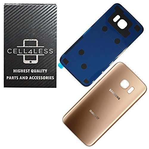 CELL4LESS Compatible Back Glass Cover Back Battery Door w/Pre-Installed Adhesive Replacement for Samsung Galaxy S7 - All Models G930 All Carriers- 2 Logo - OEM Replacement (Gold)