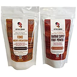 Atacora Flavors of Africa Sampler Bundle: (1) Fair Trade Raw Fonio Ancient African Gluten Free Grain (8 Oz.), and (1) Fair Trade Baobab Superfruit Smoothie and Sauce Thickening Powder (5.75 oz.)