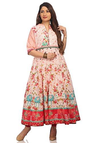 BIBA Women's Peach Anarkali Cotton Kurta Size ()
