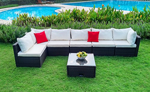 WEATHERPROOF-Since-1948–Indoor-Outdoor-Garden-Patio-7-Piece-Cushion-Wicker-SECTIONAL-SOFA-Furniture-Set-with-2-corner-sections-and-4-single-sections-and-1-coffee-table-with-STORAGE
