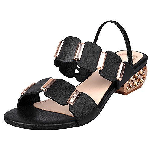Toe Women's Sandals Heeled Leather Black Strap Summer Stylish Ankle Shoes Open rismart XqCHC