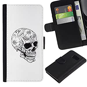 iBinBang / Flip Funda de Cuero Case Cover - Skull Floral Tattoo Black Dark White - Samsung Galaxy S6 SM-G920