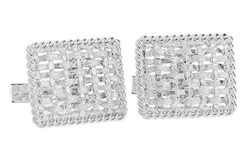 14K White Gold Rectangle Basketweave Cufflinks-86722