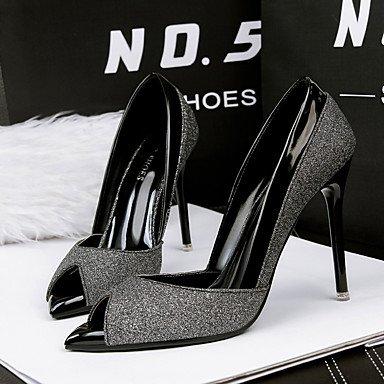 Décontracté Arrière black Or Bride 7 cm 5 LvYuan à Polyuréthane Femme Noir ggx Argent Chaussures A 5 Printemps A à 9 Arrière Bride Talons C0Cgvwq