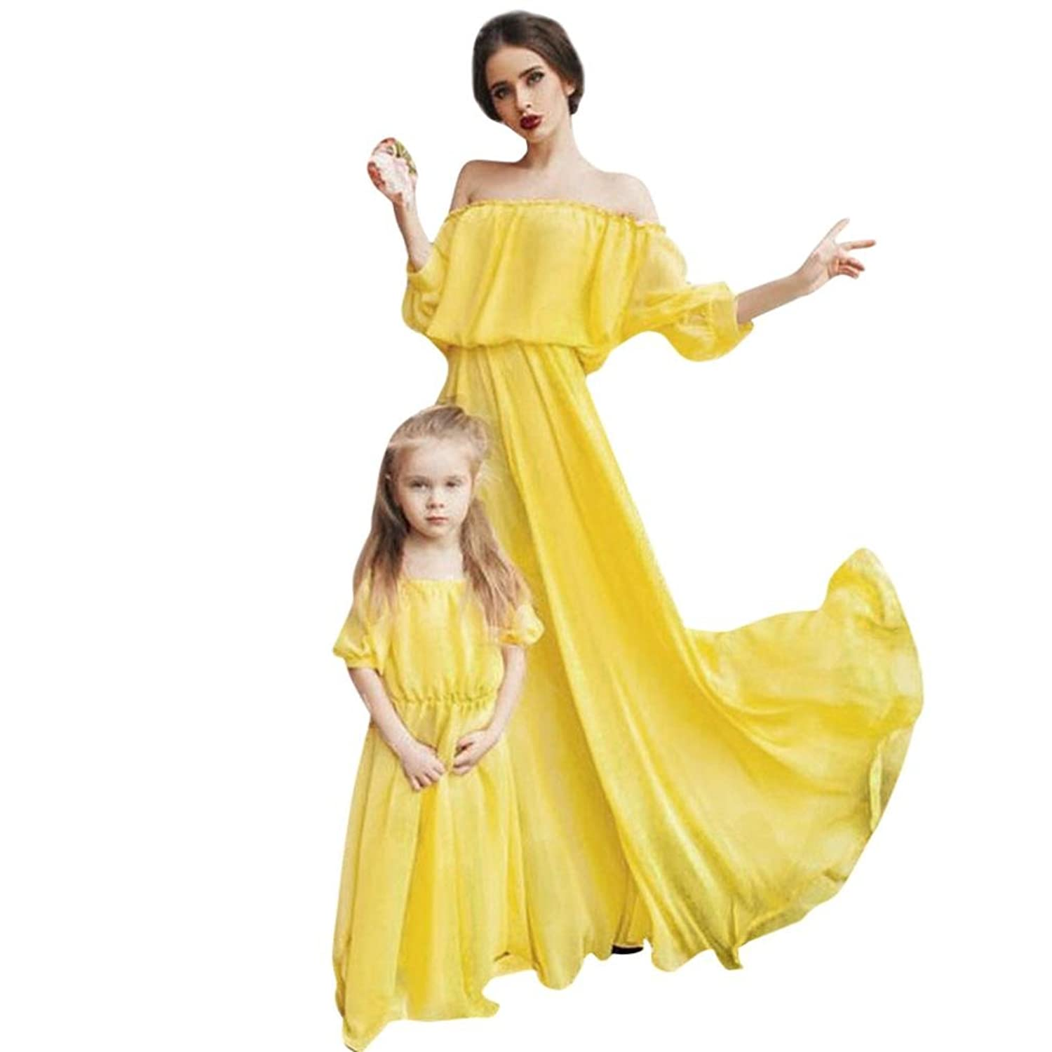Cheap Besde Mommy and Me Family Long Dress Mother Daughter Chiffon Dresses (Daughter YE, L) for cheap