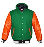 luvsecretlingerie Superb Orange Leather Sleeve Original American Varsity Letterman College Baseball Women Wool Hoodie Jackets