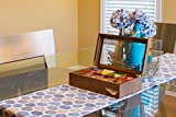 The Bamboo Leaf Wooden Tea Storage Chest Box with 8 Compartments and Glass Window