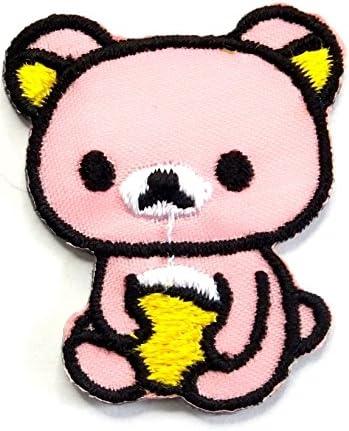 【ノーブランド品】アイロンワッペン ミニワッペン ワッペン 刺繍ワッペン キュートクマ ピンク アイロンで貼れるワッペン
