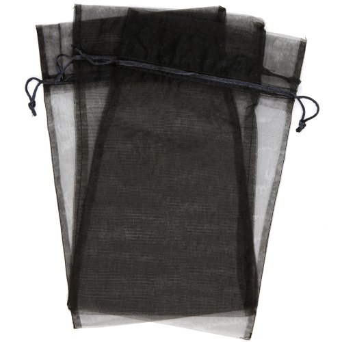 30 Designer Organza Fabric Gift Bags and Gift Pouches Party Gift Bags Black 8.75