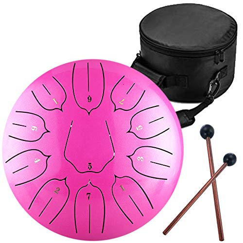Steel Tongue Drum – 11 Notes 12 inches – Percussion Instrument -Handpan Drum with Bag, Music Book, Mallets, Finger Picks