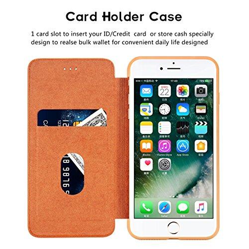 iPhone 7 Plus/ iPhone 8 Plus Leder Hülle, Hülle Handyhülle Leder Handytasche Schutzhülle Tasche Flip Case Brieftasche Kreditkartenhaltern, Ganzkörper-Schutz Minimalistischer Stil Slim Fit Hülle für iP