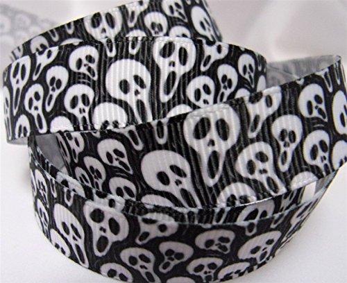 Grosgrain Printed Ribbon - Spooky Ghost Faces - 5/8