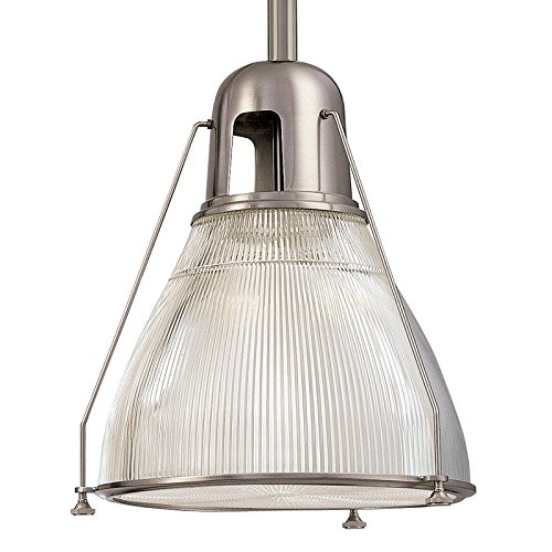 Clear Prismatic Fan Glass (Haverhill 1-Light Pendant - Satin Nickel Finish with Clear Prismatic Glass Shade)