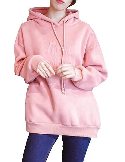 e4c3950231964 Bigbarry Women's Hoodie Vogue Pullover Loose Fleece Thickened ...