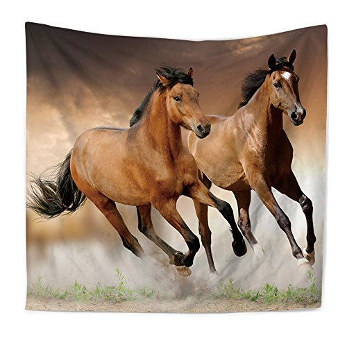 YGUII New Black and White Beautiful Horses of Different Breeds Running in Dust on Sunset - Fabric Wall Tapestry Home Decor150200 cm(59''79'') (150200 cm(59''79''), 6) by YGUII