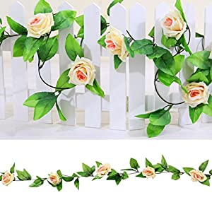 1 X 8 Ft Simulation Plastic Flowers Artificial Flowers Roses Silk Flower Vine For Air Conditioning Ducts Wedding Arch Decoration Party Ivy Vine Leaf Garlands Romantic Art Decor-Hongxin 67