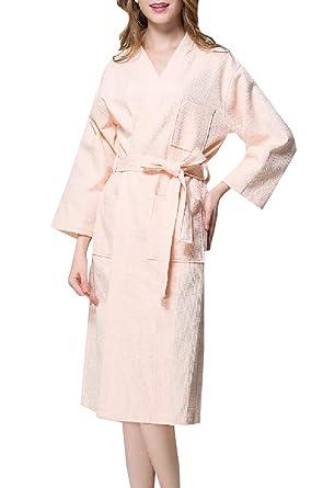 Abetteric Women Waffle Knit Mid Weight Below The Knee Bath Wrap Towels Pink  S 0d31cde08