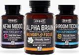 Onnit Triple Threat Stack | Alpha Brain 30ct, New Mood 30ct, Shroom Tech Sport 28ct