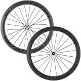 Superteam Carbon Fiber Road Bike Wheels 700C Clincher Wheelset 50mm Matte 23 width (Transparent Decal)