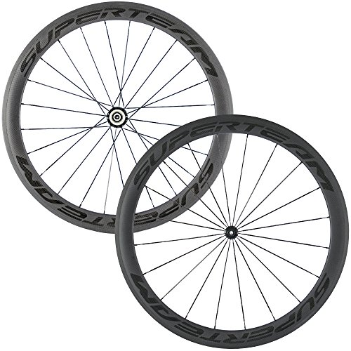 Superteam Carbon Fiber Road Bike Wheels 700C Clincher Wheelset 50mm Matte 23 Width (Transparent Decal) (Tubular Clincher Wheels)