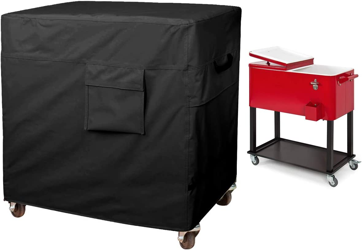 80 Quart Rolling Ice Chest Cover, Patio Party Bar Drink Cooler Cart Cloth Cover, Patio Cooler Protective Cover, Cooler Cart Dust Cover, Waterproof And Universal Size (43