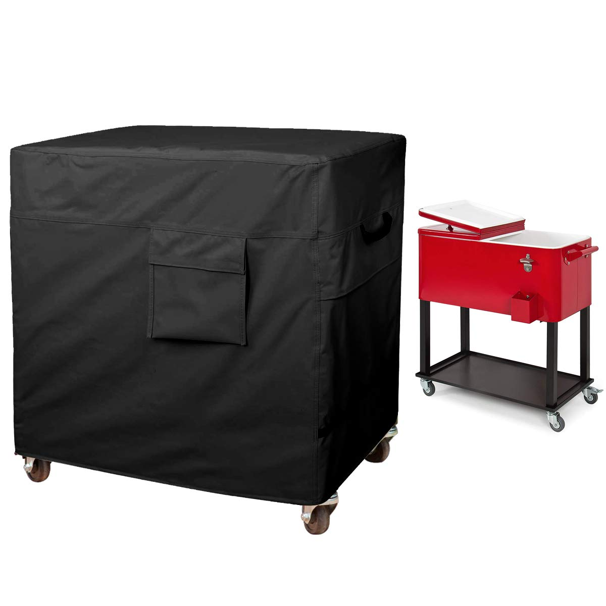 80 Quart Rolling Ice Chest Cover, Patio Party Bar Drink Cooler Cart Cloth Cover, Patio Cooler Protective Cover, Cooler Cart Dust Cover, Waterproof And Universal Size (43''L x 22''W x 32''H, Black) by Hersent