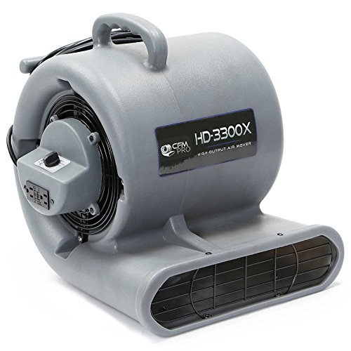 CFM PRO Air Mover Carpet Floor Dryer 3 Speed 1/3 HP Blower Fan with 2 GFCI Outlets - Stackable - Grey - Industrial Water Flood Damage - Blower Floor