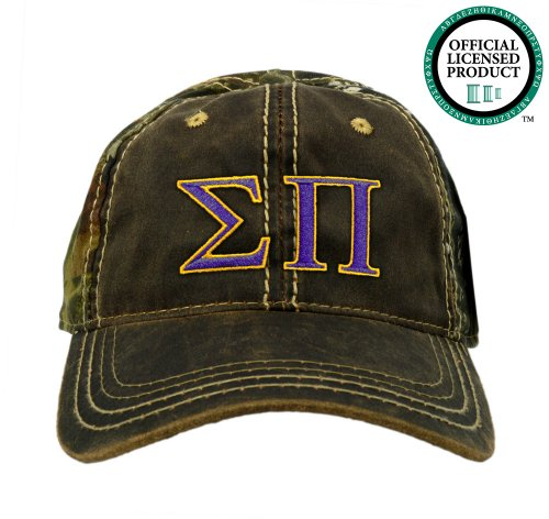 Sigma Pi (SigPi) Embroidered Camo Baseball Hat, Various Colors