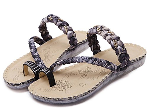 Easemax Womens Ankle Strap Toe Ring Rhinestones Slip On Flat Slide Sandals Black zVdLBB