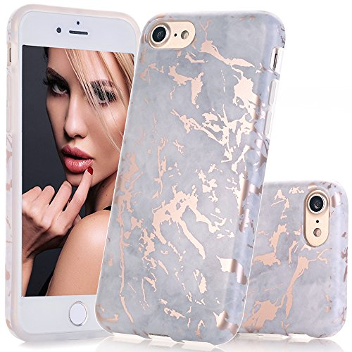 BAISRKE Shiny Rose Gold Grey Marble Design Clear Bumper Matte TPU Soft Rubber Silicone Cover Phone Case Compatible with iPhone 7 (2016) / iPhone 8 (2017) [4.7 inch]