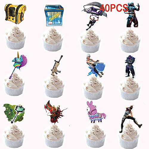 Game Birthday Cake Toppers, Game Party Favors 40 Pcs DIY Cake Decorating for Birthday Wedding Party (Ben 10 Cupcake)