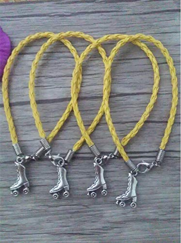 Fashionable Ancient Silver Roller Skates Charm Braided Leather Bracelets & Anklets | for Woman (50pcs)
